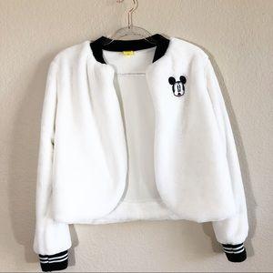 Disney white faux fur jacket